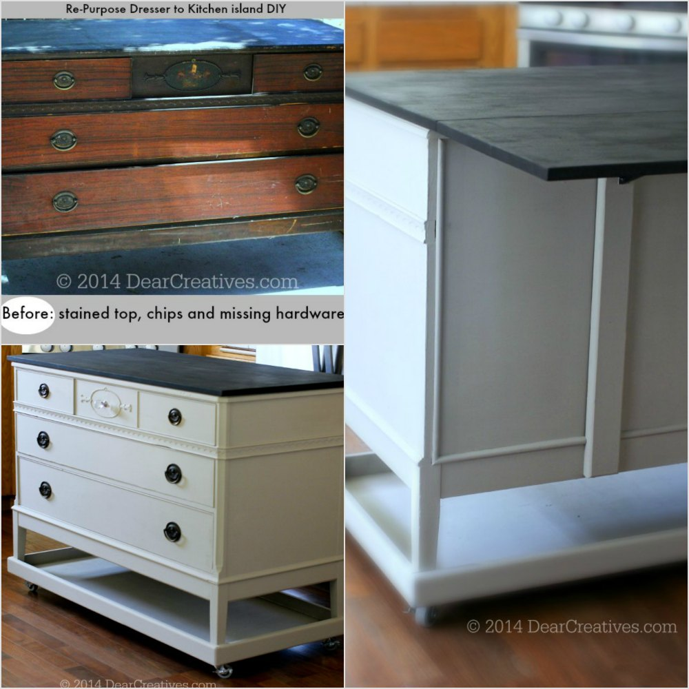 Re_Purposed Dresser to Kitchen Island_ photo collage DIY_DearCreatives.com
