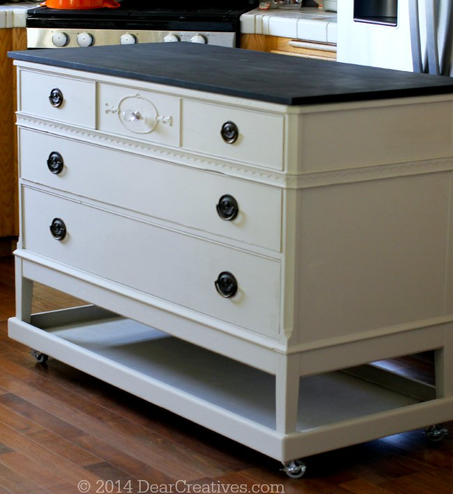 Kitchen Island Cart Diy dresser to kitchen island - cart #diy with #chalkyfinish paint