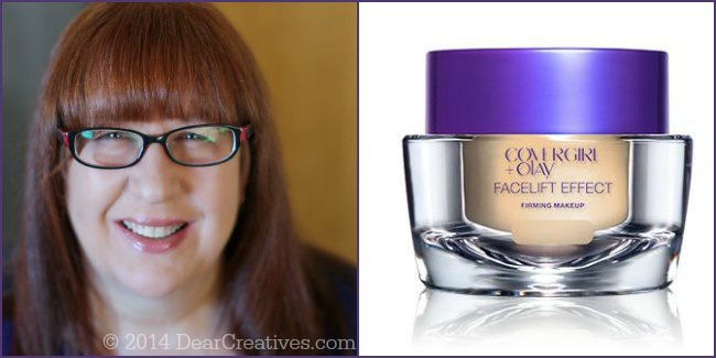 CoverGirl +Olay FaceLift Effect Make on lady and Jar of makeup_