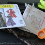 McCalls Costume Pattern, sewing scissors, notions and fabric_