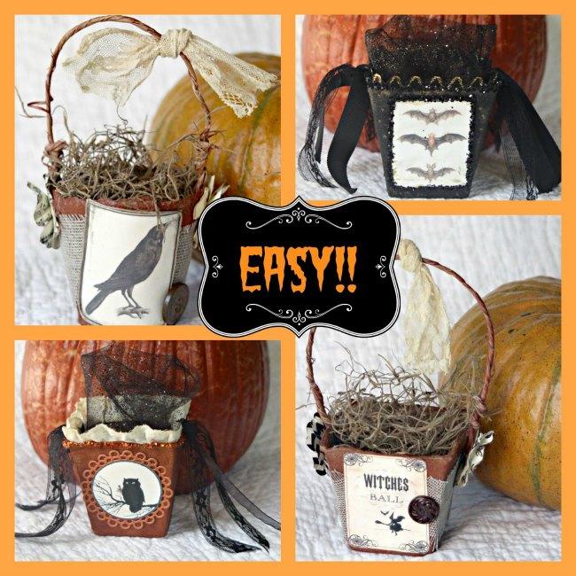 Peat Pot Baskets for Halloween