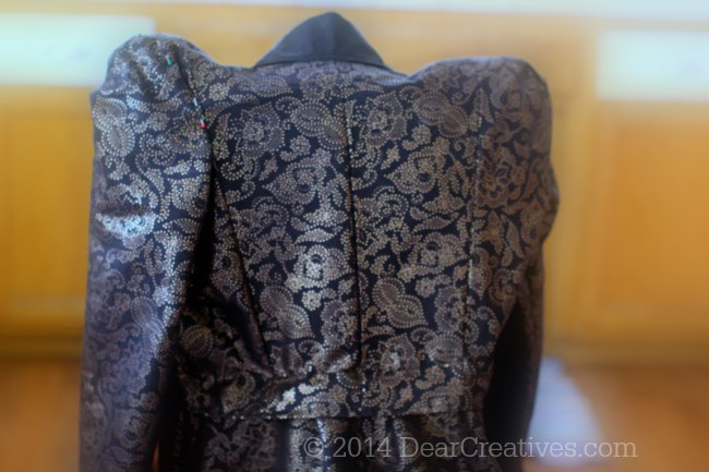 Sewing Pattern Evil Queen-close up of the back of the costume sewn- with tips on how to sew your own costume