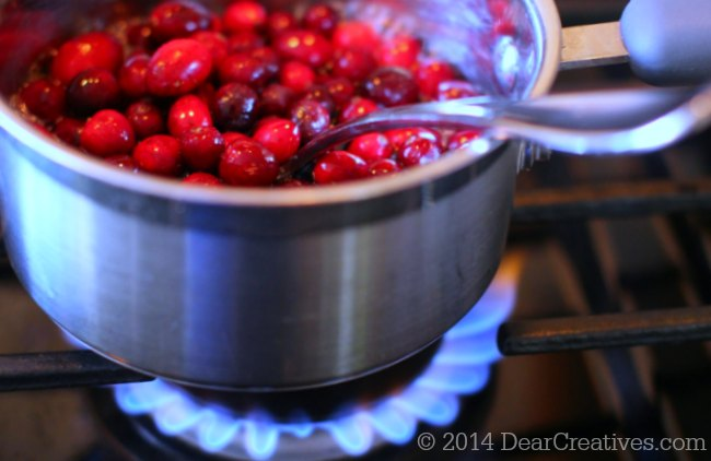 Homemade Cranberry Sauce Cranberries in a pot on stove