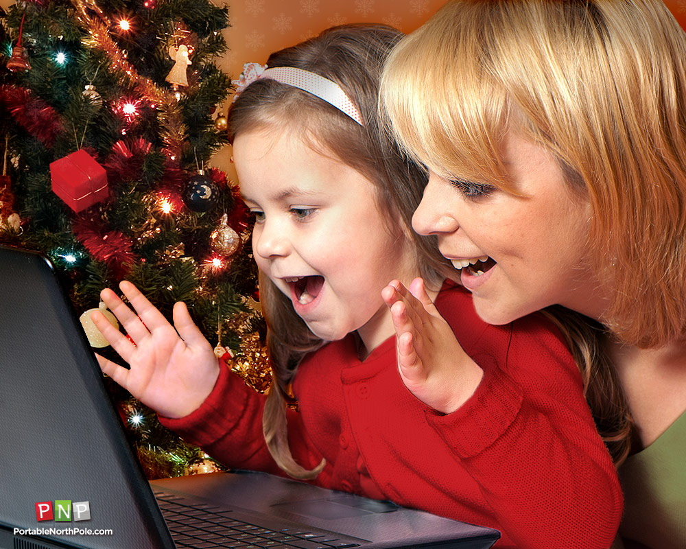 Add a little holiday magic with personalized videos from santa pnp santa mom and daughter watching santa video greeting kristyandbryce Choice Image