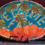 Welcome Fall sign_ falling leaves and pumkins painted on wood round_