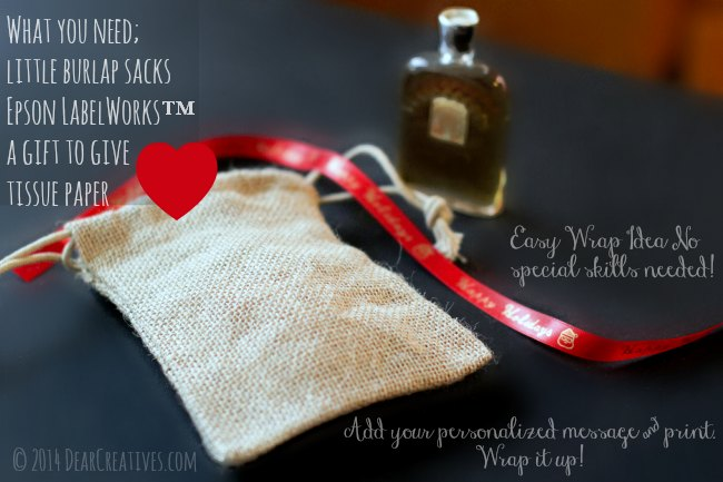 Burlap bag, satin ribbon with message and perfume bottle_ packing idea_© 2014 DearCreatives.com