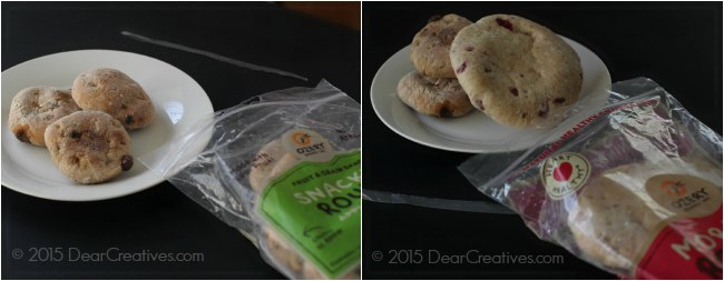 Ozery Bakery Product zip lock bags and products on a plate