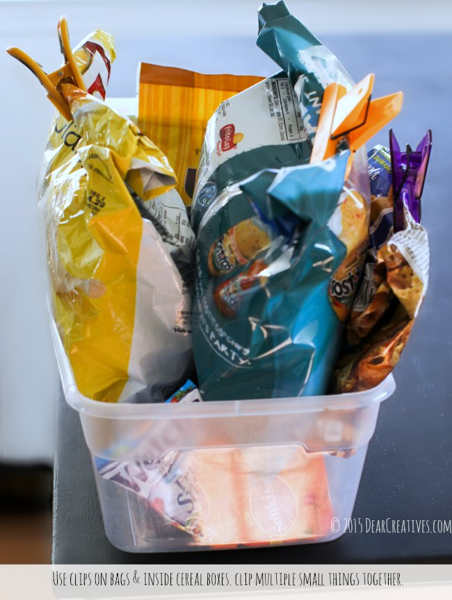 home organization pantry storage tips clips on potato chip bags organized in a container_© 2015 DearCreatives.com