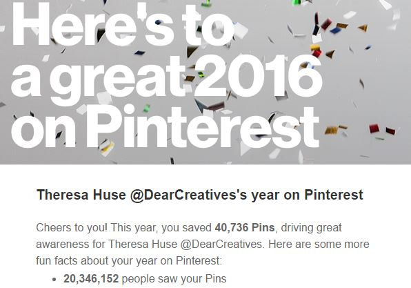 Pinterest stats 2016 for DearCreatives.com