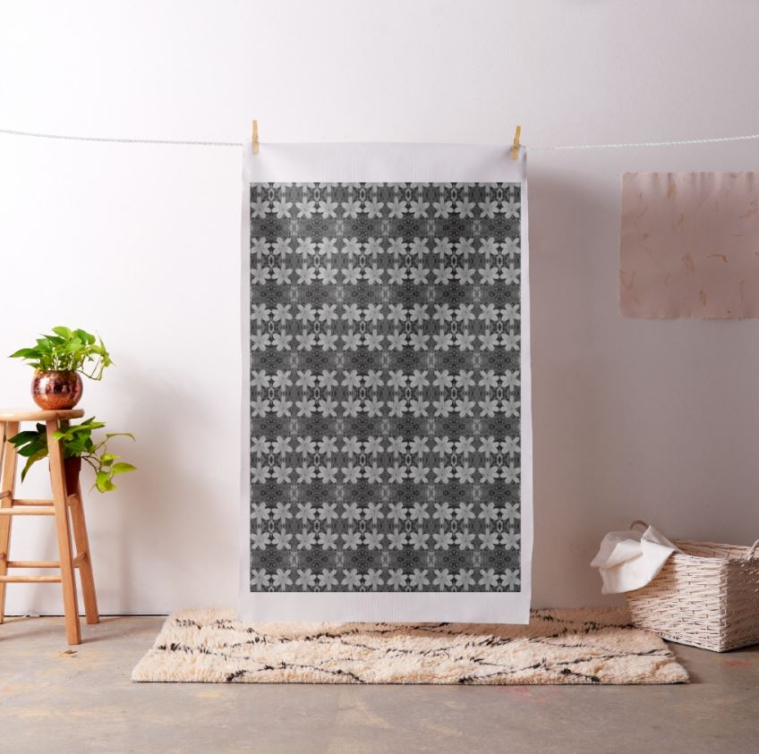 black grey floral fabric design