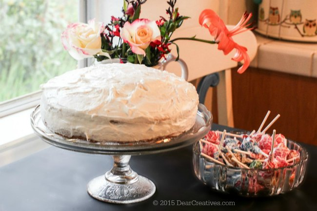 #TheMagicOfSpring | Cake next to candy with flowers © 2015 Theresa Huse