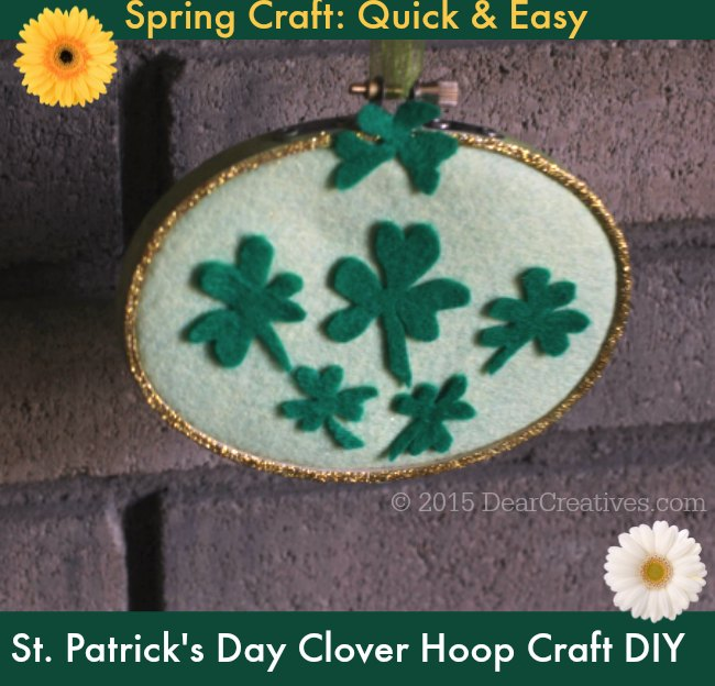 Crafts Spring | St. Patricks Day Clover Hoop Craft DIY  Project