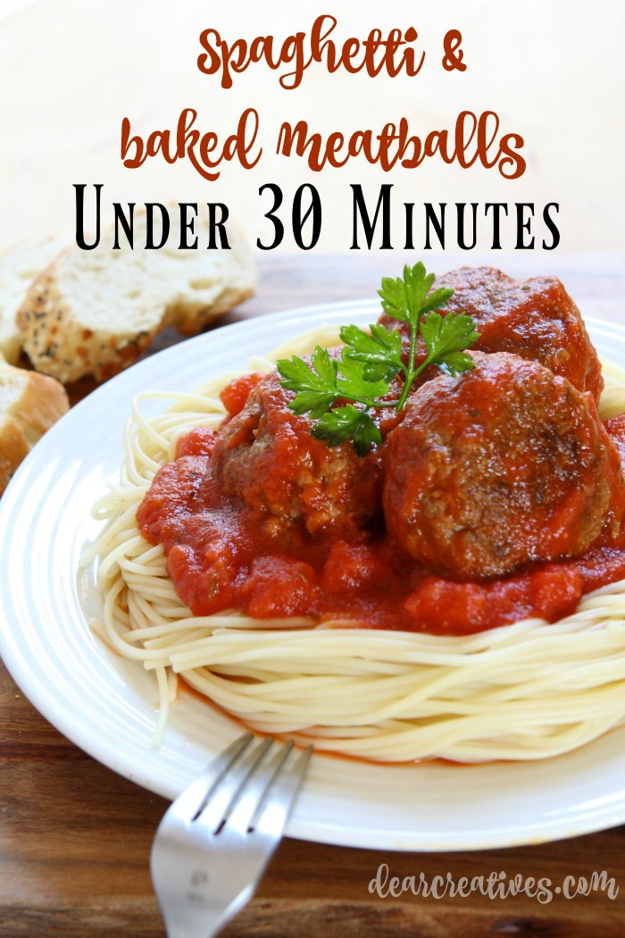 Ground Beef Recipes Pasta Recipes Spaghetti and Baked Meatballs this dinner can be made in under 30 minutes! A must try recipe.