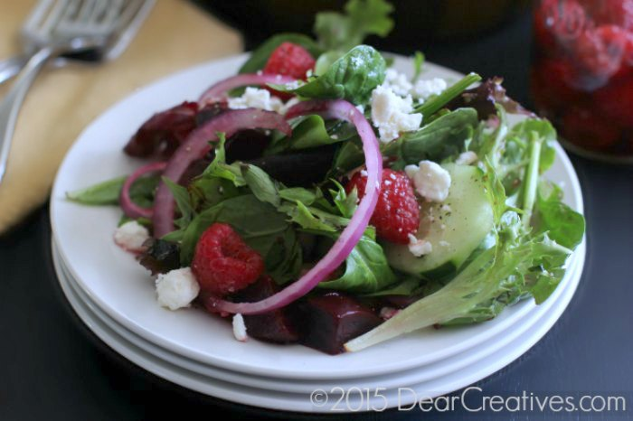 Salad on a plate |Raspberry Vinaigrette Salad | Raspberry Salad with Homemade dressing