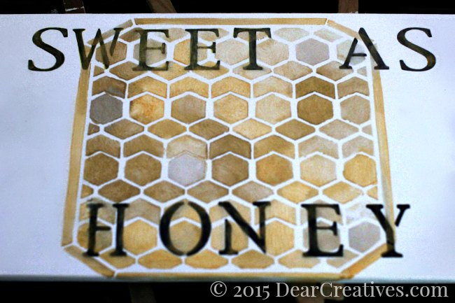 Home Decor Ideas | Honey Comb Stenciled cabinet door that says sweet as honey