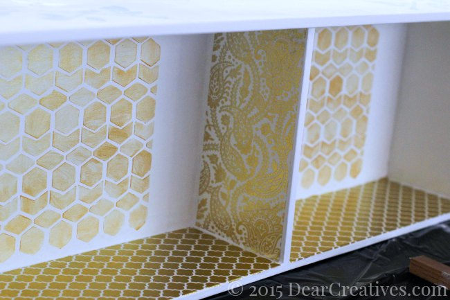 Home Decor Ideas Inside of cupboard that has been stenciled and decoupaged