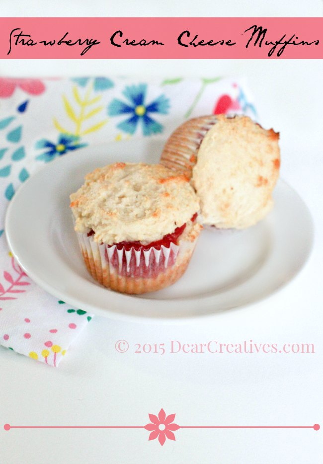 Strawberry Cream Cheese Muffins. This is an easy biscuit like muffin with a wonderful strawberry filling. Perfect anytime you have fresh strawberries and want muffins.