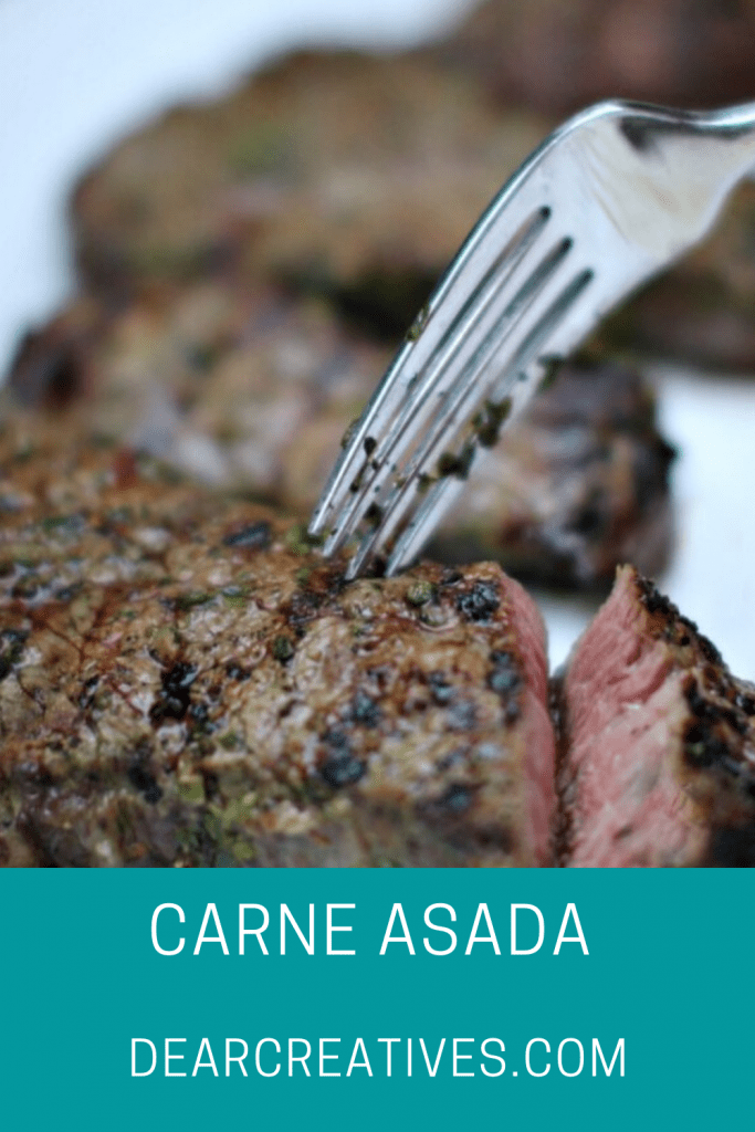 Carne Asada Grilled Steak - Steak Marinade Recipe - Easy to make, marinate the steak in and grill. Flavorful, juicy steak cooked on the grill. DearCreatives.com