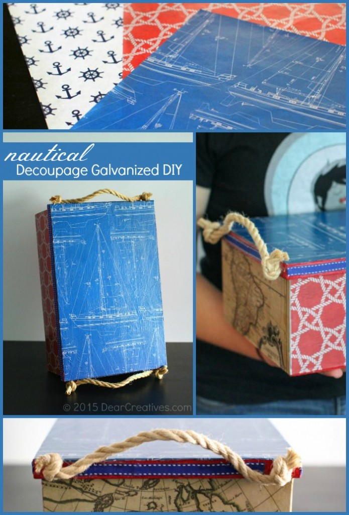 handmade father day crafts idea | Crafts Fathers Day Nautical Decoupage Galvanized DIY