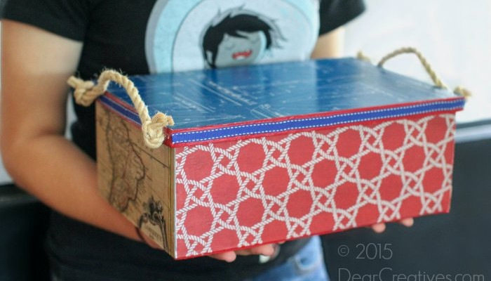 Crafts For Dad: Decoupage Galvanized Steel Box #DIY