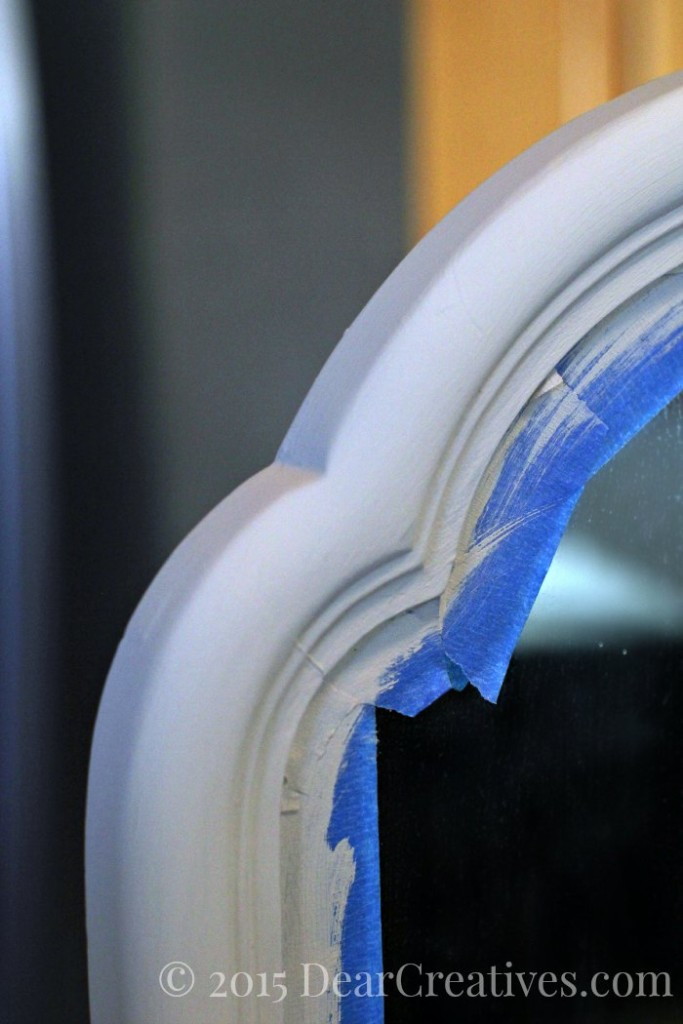 Home Decor Ideas   Taped off vanity mirror being painted
