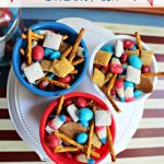 Patriotic Snack Mix treat recipe, red white and blue treats mix. Great for a summer desert, birthday parties, Memorial Day, 4th of July treats. Quick, easy and no bake!