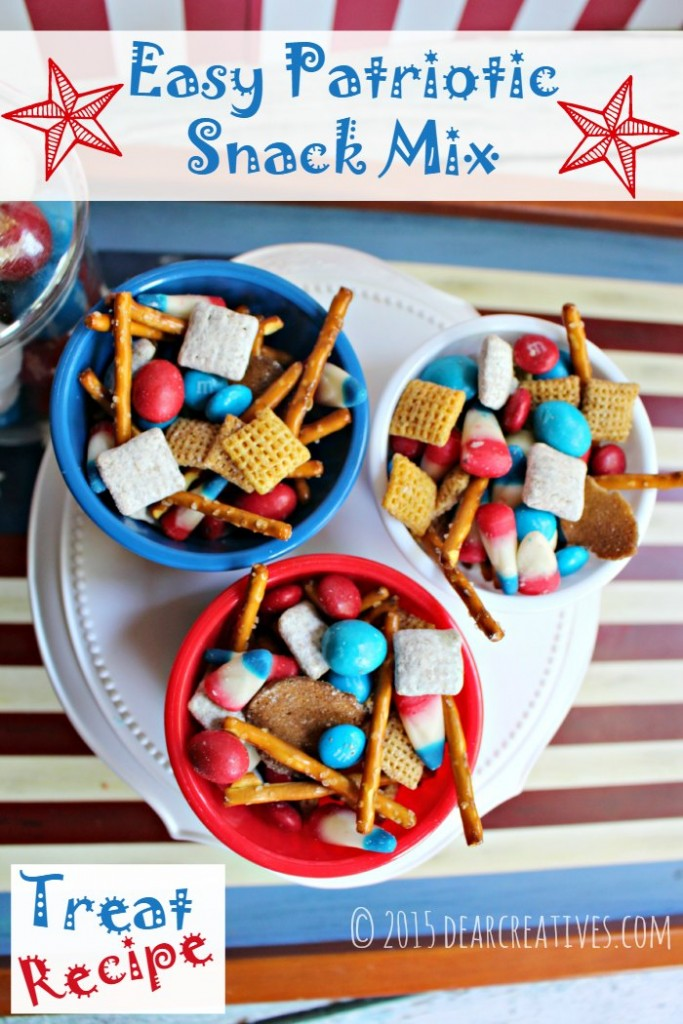 Patriotic Snack Mix - Treat Recipe and summer dessert for the 4th of July. No bake and quick and easy. Uses Chex mix and candies. Grab this and other ideas for your 4th of July.