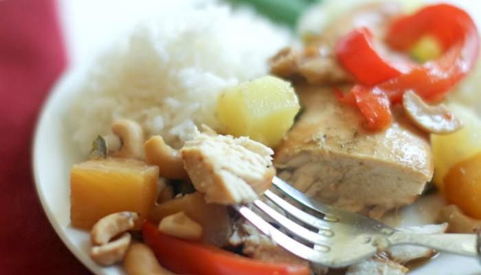 Slow Cooker Pineapple Red Pepper Cashew Chicken Recipe