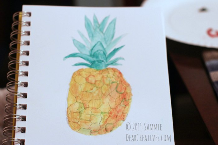 Pineapple illustration painted with gouache and Santa Fe art supply paint brushes