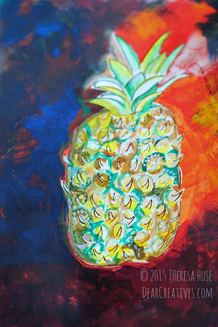 Pineapple illustration with gouache paint © 2015 Theresa Huse