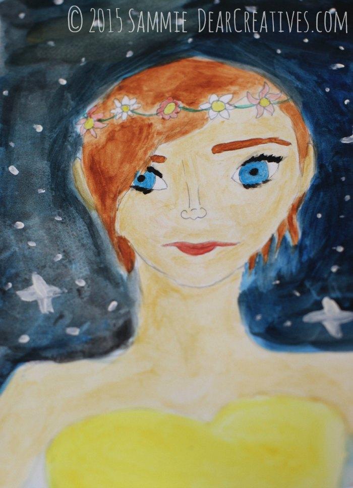 illustration summer girl with evening stars © 2015 DearCeatives.com