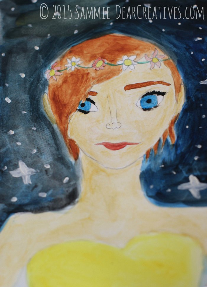 illustration summer girl with evening stars © 2015 DearCeatives.com