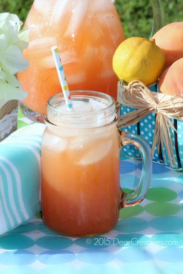 Close Up Homemade Peach Strawberry Lemonade