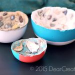Concrete Trends Elegant Home Decor Cement Bowls with Sea shells inside |@2015 DearCreatives.comCement Bowl With Patio Paint DecoArtProjects