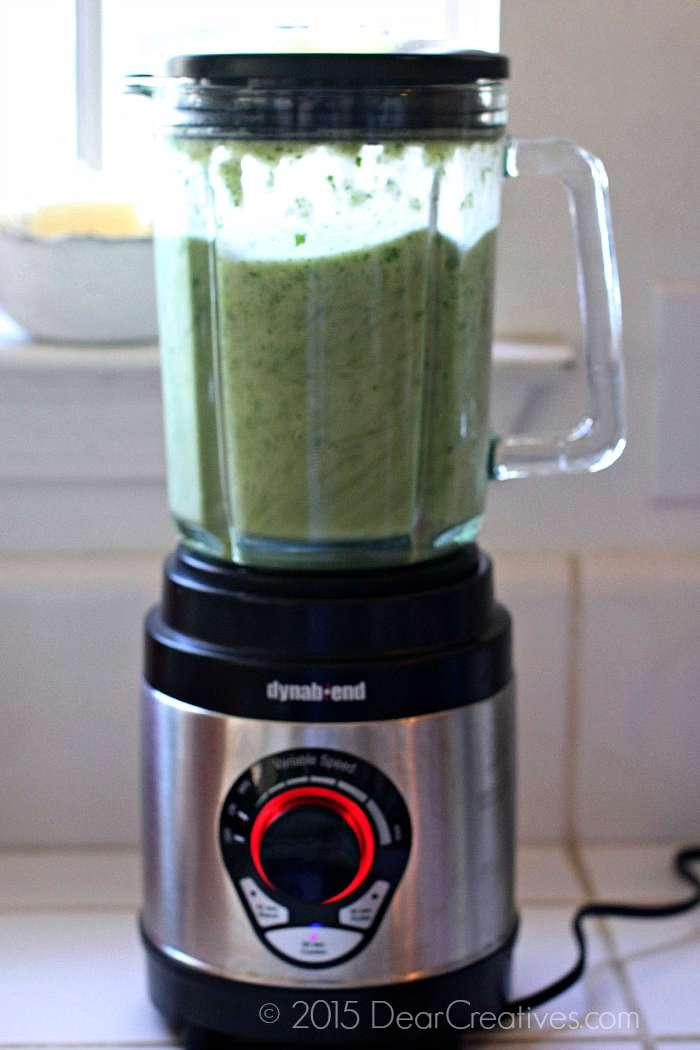 blending green enchilada sauce 3