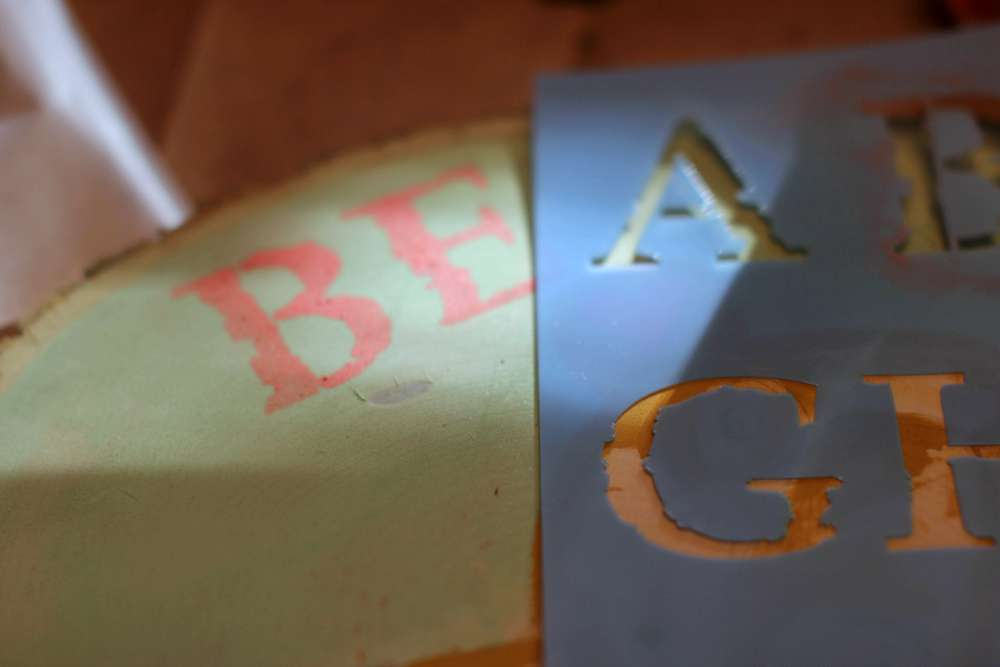 Stencil Paint Where You Pencil Marked Letters - how to stencil words with alphabet letters. DearCreatives.com