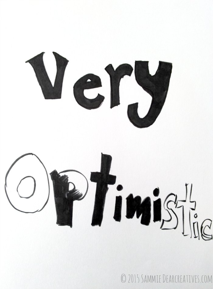 Craft Book Review hand lettering words very optimistic