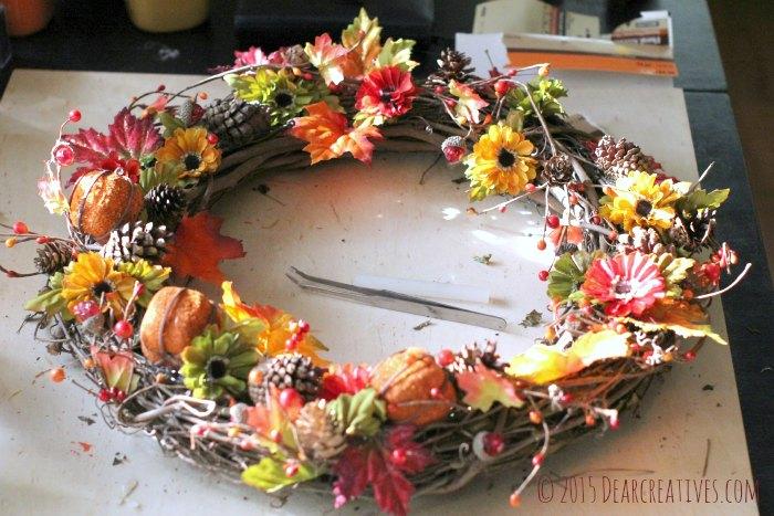 DIY Crafts Creating a Wreath - Wreath sitting on a table