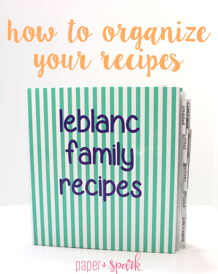 kitchen organization personalized recipe binder