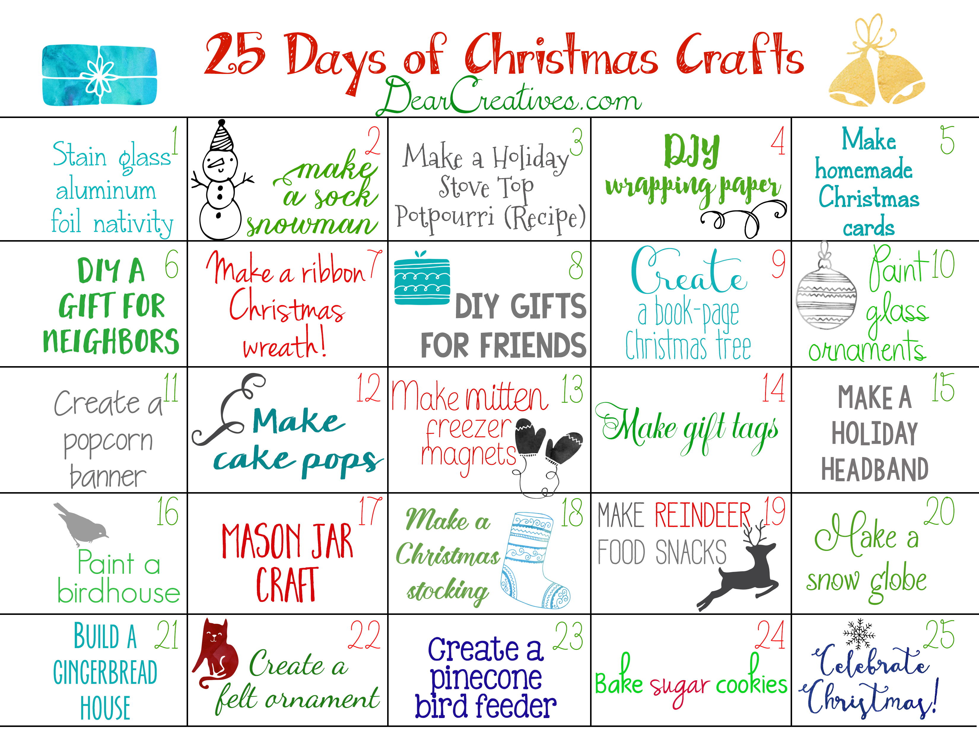 25 Days of Christmas Crafts Calendar, and links to Christmas holiday crafts, and ideas