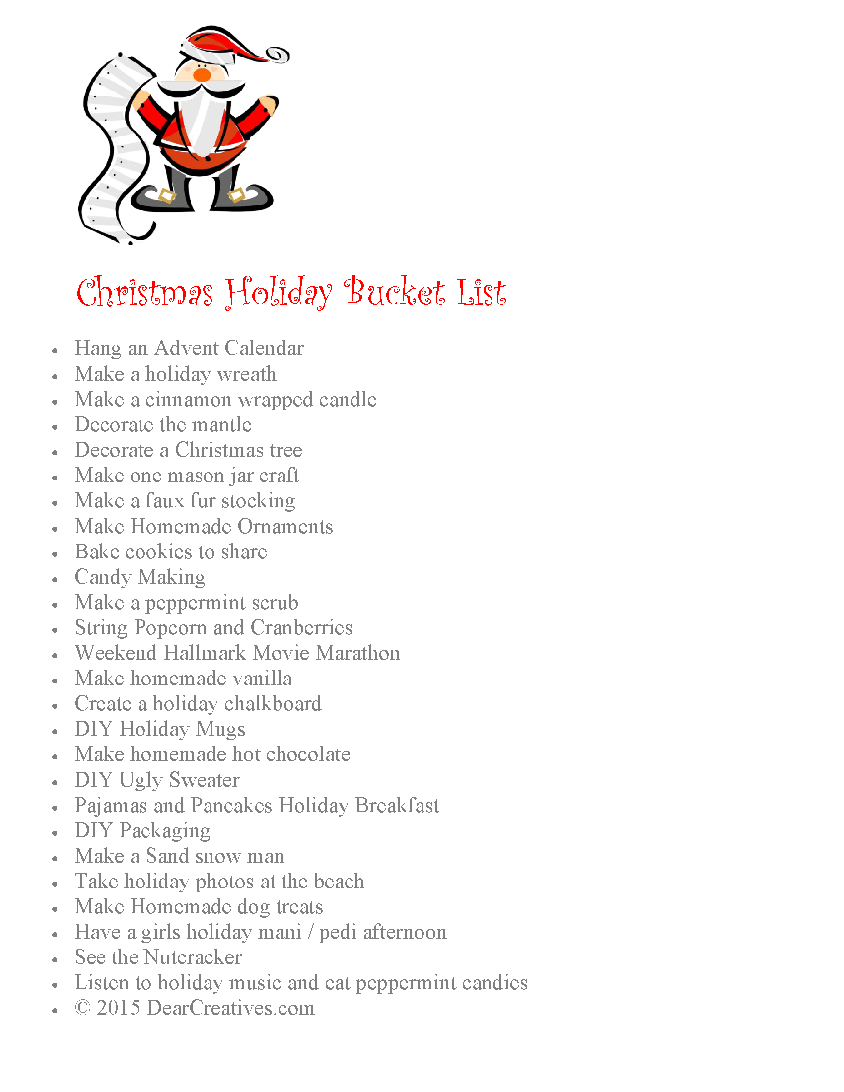 Christmas Holiday Bucket List (Free Printable)