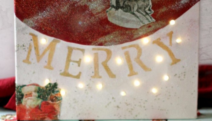 DIY Crafts Project: Christmas Crafts Holiday Canvas With LED Lights