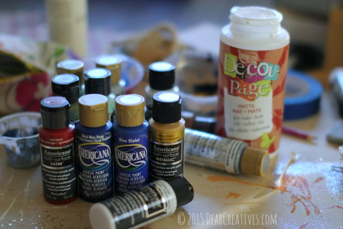 DIY Crafts Project Craft Supplies Acrylic Paints and Deco-Page