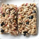 Treat Recipe | Homemade Granola Bars on a plate close up