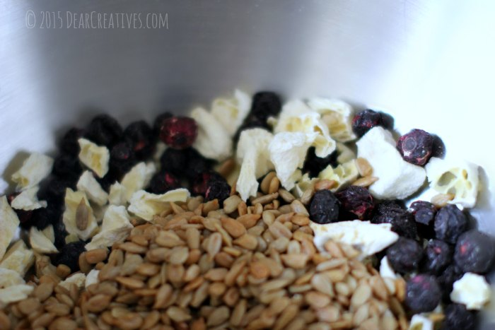 dried fruit seeds and nuts in a bowl for granola bars