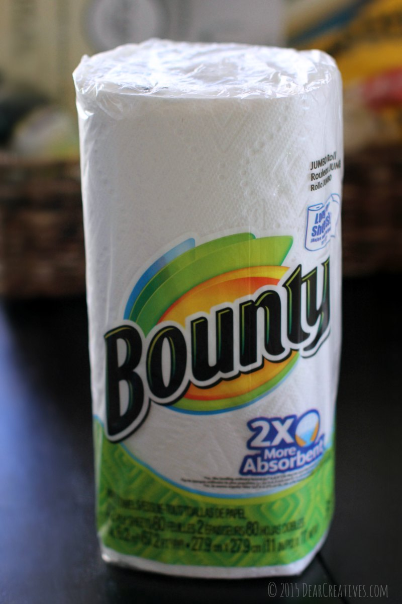 Close up of a roll of Bounty Paper Towels