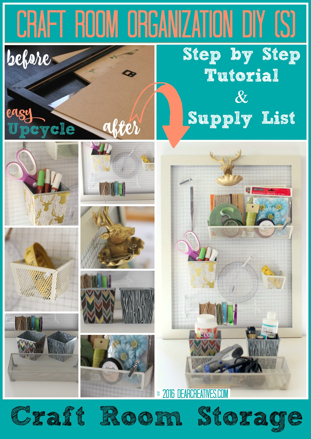 Craft Storage:  DIY Craft Room Storage Ideas + Wall Organizer