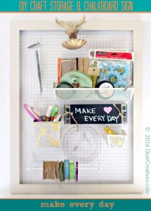Craft Storage With Chalkboard Sign