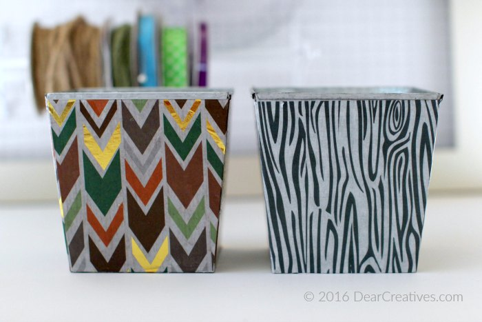 Craft Storage containers close up covered with Decou-Page Papers from DecoArt