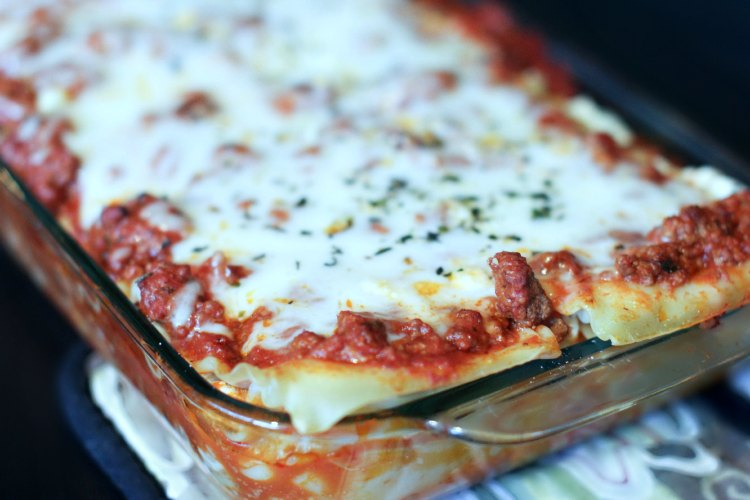 Lasagna with ground beef and Italian sausage